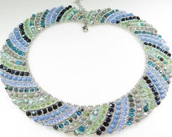 Swirl Necklace Beading Tutorial - Netting Swarovski fire polish crystal gems- Beading Pattern-Beaded Netted crystals Necklace Tutorial - PDF