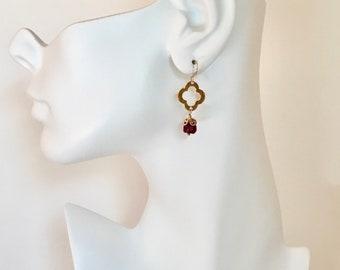 Gold clover ruby gemstone dangle earrings