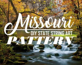 "Missouri - DIY State String Art Pattern - 11"" x 8.5"" - Hearts & Stars included"