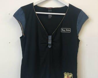Rare Vintage 90s 00s DKNY Active Denim Patchwork Tee Vneck Logo Top
