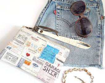 REPURPOSED Label Wristlet. Recycled Fashion Labels.  Leather Clutch. Leather Wristlet. Summer Bag. Ready To Ship.