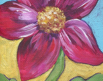 My Heart Sings! Rich red flower painting with mustard & teal. Acrylic on canvas, 4x5 miniature. Inspirational. Your indoor garden.