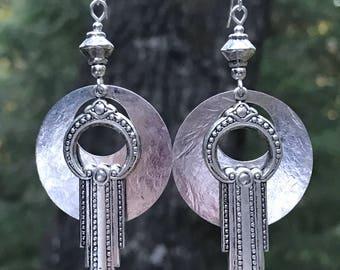 Art Deco earrings, hammered silver, silver dangle earrings, lightweight