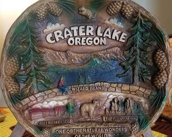 Vintage Souvenir Taco Plate Crater Lake National Park Taco Tray Oregon