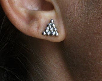 Sterling Silver-Triangle-Stud-Earrings / Free US Shipping