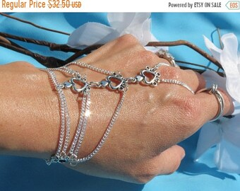 Silver Slave Bracelet,bridal hand chain wedding Heart Hand bracelet slave bracelet Ring Bracelet Slave Ring Finger Bracelet Bridesmaid gifts