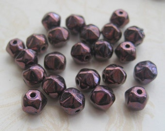 Glass Plum Metalic Finish Spacers or Small Beads - 24
