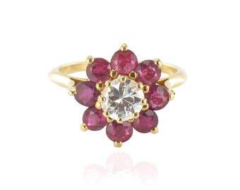Bague rubis diamant Or jaune 18K Vintage