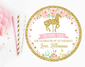Carousel thank you tag, Pink and gold, baby shower favor tag, gift tag, first birthday thank you tag, carousel stickers, printable No. 003