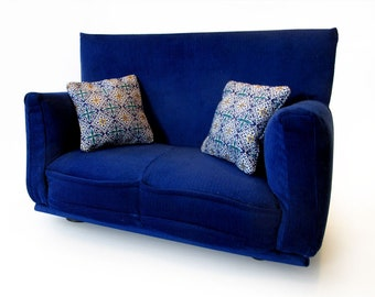 """Barbie Doll Furniture-Sofa with Pillows -1:6 scale-Dark Blue with Geometric print fabric pillows-also works w/Blythe and 11"""" fashion doll"""