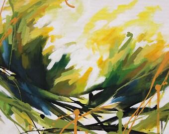 Peinture abstraite à l'acrylique, fleurs jaunes et vertes, Tableau contemporain unique, oeuvre d'art originale