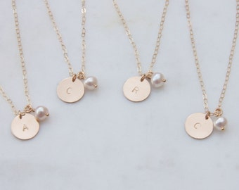Set of 3/4/5 Gold Initial Bridesmaid Necklace, Bridesmaid Initial Necklaces, Bridesmaid Gift, Bridesmaid Idea, Set of Initial necklaces