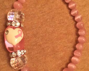 Pink Cats Eye Breast Cancer Bracelet