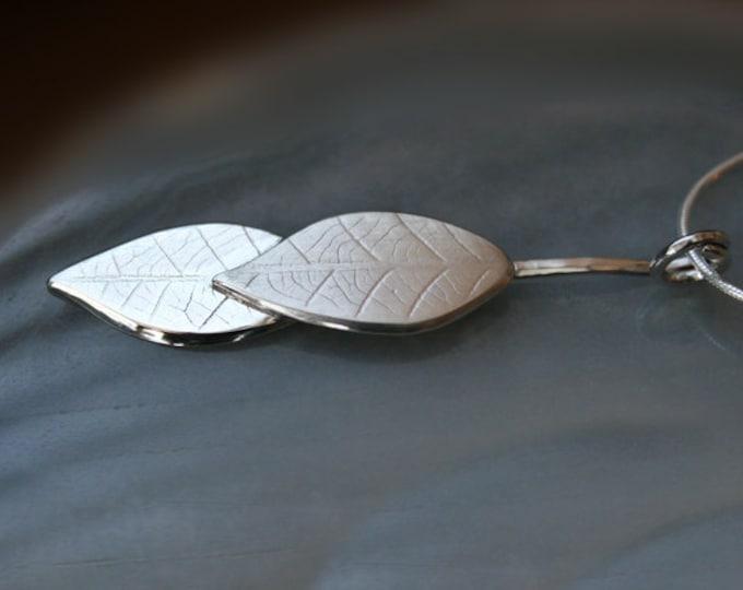 Silver Jewelry, Silver Jewellery, Silver Pendant, Leaf Pendant.