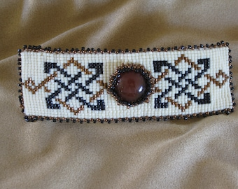 Barrette-Celtic design-red aventurine cabochon-loomed seed beads-bead embroidery-Scottish influence-gift for friend-Irish style-modern