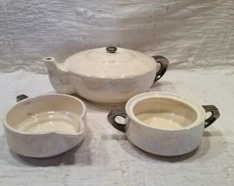 Beautiful, antique, vintage rainbow,iridescent fine china coffee pot, creamer, and sugar dish