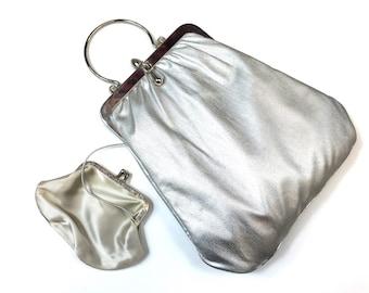60s Silver Lame Purse Bag | Matching Coin Purse | HL USA