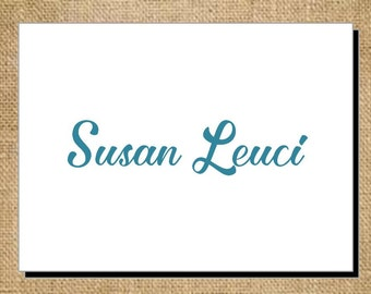 Set of Personalized Scripted Name Folded Note Cards - Thank You Cards - Blank Cards - Stationery