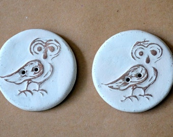 2 extra large owl buttons - 1.5 inches in diameter