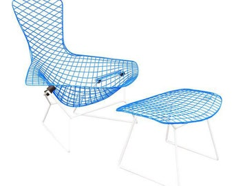 """Vintage Mid Century Modern """"Bird"""" Chair & Ottoma by H. Bertoia for Knoll"""