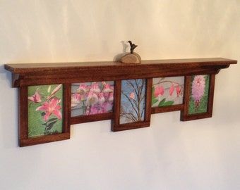 Collage Picture Frame and Shelf, 5X7 Collage Frame, Wood Picture Frame, Wood Shelf with 5X7 Multi Photo Frame