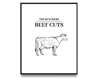 cuts of beef butcher cuts print butcher diagram kitchen