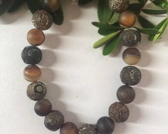 Agate Beaded Bracelet, Handmade Earring, Gemstone Earring, Fashion Jewelry, Unique design Jewelry