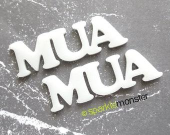 MUA Cabs - 2 pcs, white, laser cut acrylic, flat back, makeup artist, deco