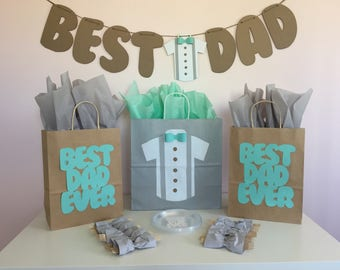 Father's Day | Best Dad Ever | Party in a Box | Bow tie Suspenders Shirt | Mint Gray & Brown
