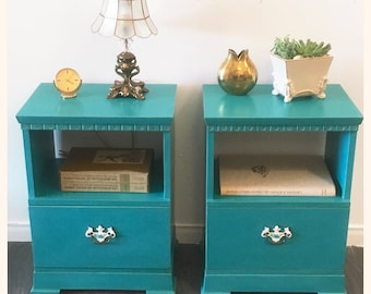 Turquoise upcycled vintage wood bedside table
