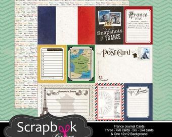 France Journal Cards. Digital Scrapbooking. Project Life. Instant Download.