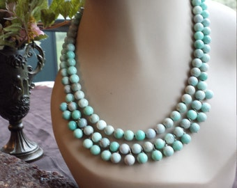 Two strand beaded lazulite necklace with center drops