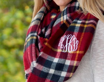 Monogrammed Infinity Scarf / Infinity Scarf / Plaid Infinity Scarf