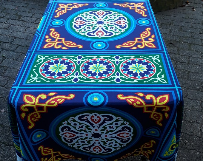 Very colorful mandala ethnic tablecloth. Egyptian wall hanging. Great gift. Decorative tablecloth for festive table.