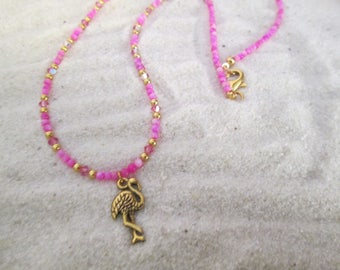 Hot Pink Flamingo Necklace