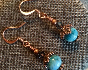 Copper, Blue Apatite and Swarovski Crystal Earrings