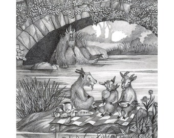 8x10 Giclee Illustrated Print of 3 Billy Goats Gruff in Central Park