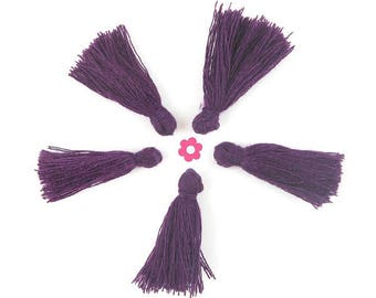 x 10 purple Mini Pompom 25mm (244(d))