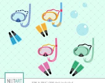 Snorkeling gear clip art , water bubbles clip art, vector graphics, fins clip art, digital clip art, digital images - CL 017