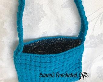 Blue Lined Crocheted Purse, Lined Crochet Purse, Handmade Crochet Purse, Crochet Tote, Crochet Handbag, Blue Lined Handabg, Blue Purse