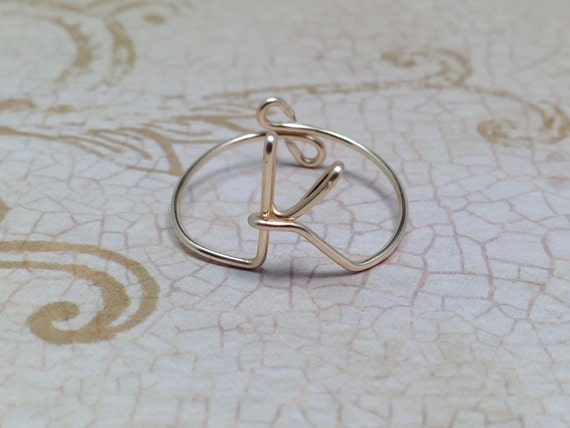 Erste Ring Buchstabe K Ring personalisierte erste Drahtring