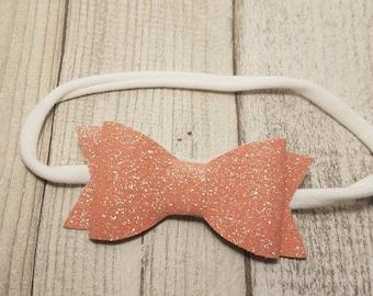 SALE hair bow headband - glitter hair bow, peach hair bow, handmade hair bow, party hair bow, baby headband, toddler hair bow, baby hair bow