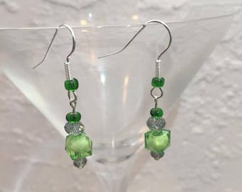 Light green and silver glass bead earrings.  Hypoallergenic.