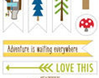 Bella Blvd Campout Trinkets, Camping-Themed Scrapbook Stickers/Embellishments