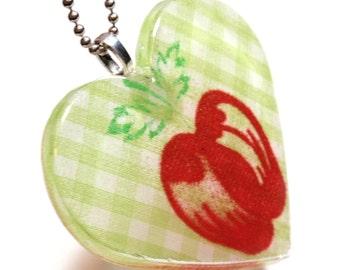 Valentines Light Green Gingham Heart Pendant  with Vintage Fabric w/Silk Screen Apple circa 1940's Teacher Appreciation Gift A3