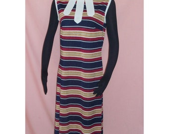 Mod Striped  60s Vintage Sleeveless Midi Dress L Textured