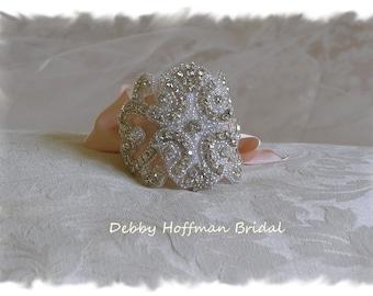 Bridal Cuff Bracelet, Wedding Bracelet, Bridal Cuff, Jeweled Wedding Cuff Bracelet, Vintage Inspired Wedding Cuff Bracelet, No. 2011CB1171