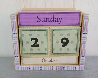Calendar, wood block perpetual calendar, wood decoupage, desk top calendar