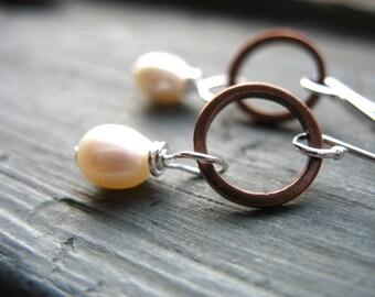 Pearl Earrings, White Pearl Copper Hoop Earrings, Pearl Jewelry, Handmade Artisan Jewelry