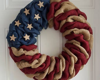 Patriotic wreath, patriotic burlap wreath, flag wreath, primitive wreath, farmhouse wreath, military wreath, farmhouse decor